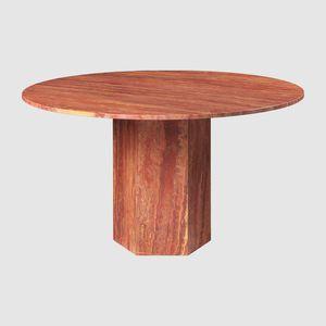 tavolo da pranzo classico / in travertino / con supporto in travertino / tondo