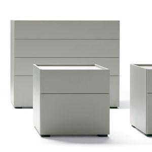 cassettone moderno / in legno laccato / in vetro / grigio