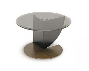 tavolino moderno / in vetro / tondo