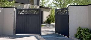 cancelli battenti / in alluminio / a lamelle / per uso residenziale