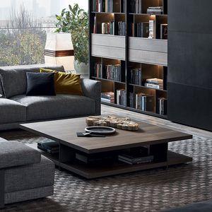 tavolino basso moderno / in marmo / con supporto in metallo verniciato / rettangolare