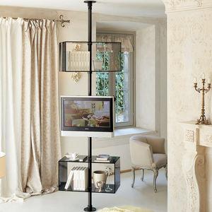 supporto per TV da terra moderno / girevole / pavimento-soffitto / in vetro
