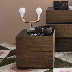 comodino moderno / in legno / in vetro / rettangolare