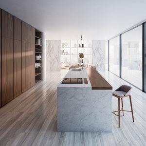 cucina moderna / impiallacciata in legno / in quercia / in noce