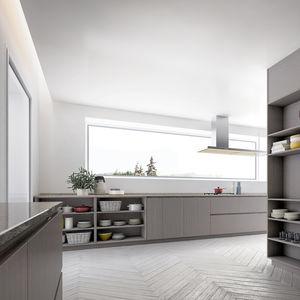 cucina moderna / impiallacciata in legno / in quercia / in legno laccato