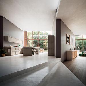 cucina moderna / in legno massiccio / in quercia / con isola