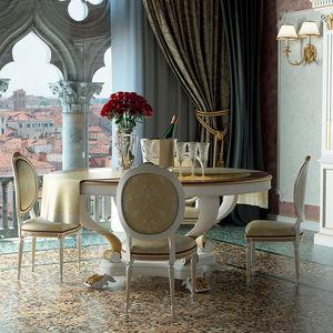 tavolo da pranzo in stile Luigi XVI / in legno laccato / tondo