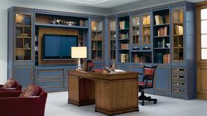 libreria ad angolo / in stile / in legno laccato / vetrata