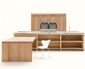 cucina moderna / in quercia / in acciaio inossidabile / con isola