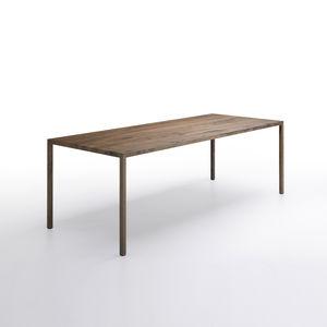 tavolo moderno / in quercia naturale / in acciaio / in ottone