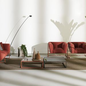 tavolino basso moderno / in gres porcellanato / con supporto in acciaio inossidabile / quadrato