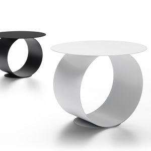tavolino basso moderno / in acciaio / con supporto in acciaio / tondo