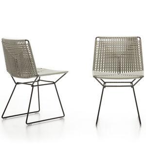 sedia moderna / a slitta / impermeabile / in acciaio