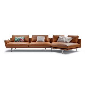 divano d'angolo / moderno / in tessuto / in pelle