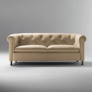 divano classico / in pelle / in legno / 2 posti