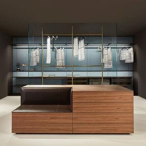 cassettone moderno / in legno / in pelle / in vetro