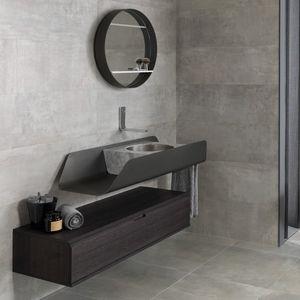 mobile lavabo sospeso / in legno / in metallo / moderno