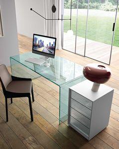 cassettiera per ufficio in alluminio / in vetro / 4 cassetti