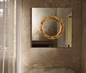 specchio a muro / in stile barocco / quadrato / in legno