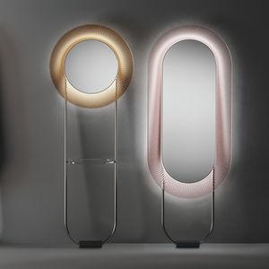 specchio da terra / luminoso a LED / moderno / tondo