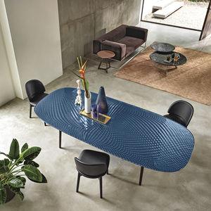 tavolo moderno / in vetro temprato / con supporto in metallo verniciato