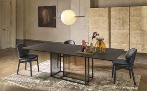 tavolo moderno / in vetro temprato / con supporto in metallo verniciato / rettangolare