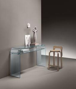 consolle moderna / in vetro curvato / con supporto bombato / rettangolare