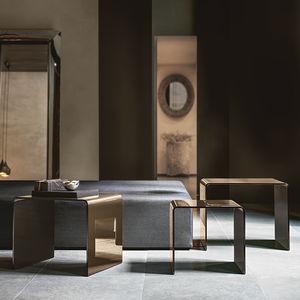 tavolino estraibile moderno / in vetro curvato / con supporto bombato / rettangolare
