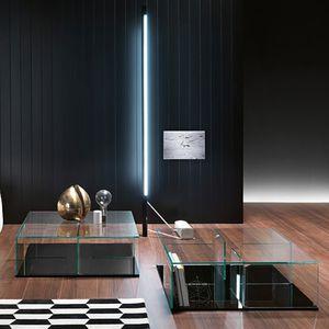 tavolino basso moderno / in vetro curvato / rettangolare / quadrato