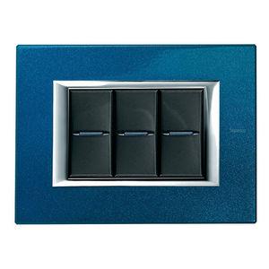 interruttore con interruttore a pulsante / ad incasso / triplo / in alluminio