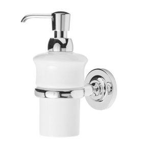 distributore di sapone contract / da parete / in metallo cromato / in porcellana
