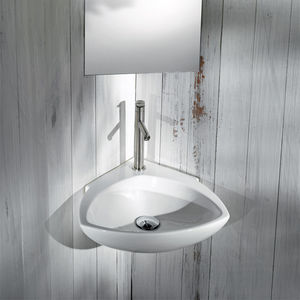 lavabo sospeso / d'angolo / in ceramica / moderno