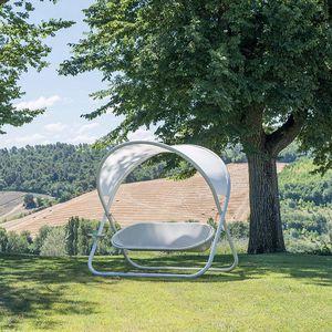 dondolo da giardino in acciaio / autoportante / con cuscino rimovibile / a baldacchino