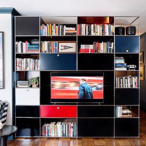 parete attrezzata TV moderno / in metallo / in MDF / su misura