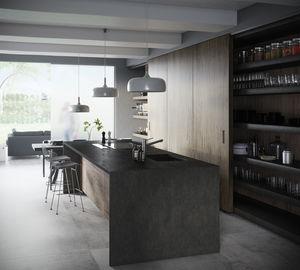piano di lavoro in Dekton® / da cucina / grigio