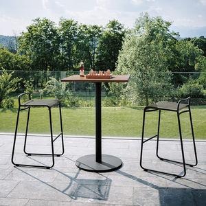 tavolo alto moderno / in teak / in acciaio inossidabile / in HPL