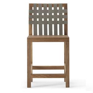 sedia alta moderna / con poggiapiedi / in teak / in poliestere