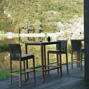 tavolo alto moderno / in teak / con supporto in teak / quadrato
