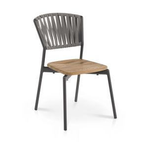 sedia moderna / impilabile / con cuscino rimovibile / in teak