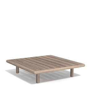 tavolino basso moderno / in teak / con supporto in teak / quadrato