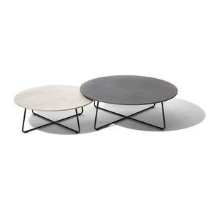 tavolo d'appoggio moderno / in ceramica / in laminato / con supporto in acciaio inossidabile