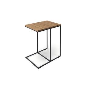 tavolo d'appoggio moderno / in teak / in laminato / con supporto in acciaio inossidabile