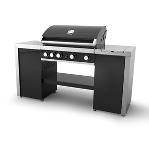 barbecue a gas / con rotelle / in ghisa / professionale