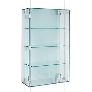 vetrina moderna / sospesa / in vetro / su misura