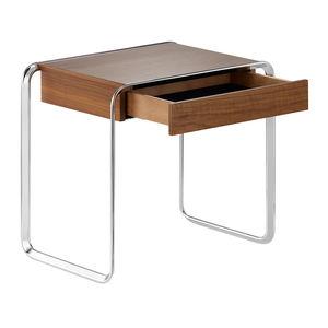 tavolino basso moderno / impiallacciato in legno / in acero / con supporto in acciaio