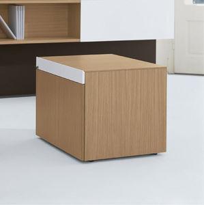 cassettiera per ufficio in alluminio / in legno / in vetro / 2 cassetti