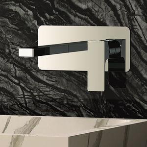 miscelatore per lavabo / da parete / in ottone cromato / da bagno