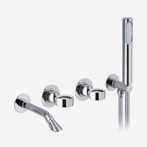 miscelatore doppio comando per vasca / da parete / in metallo cromato / da bagno