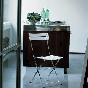 sedia moderna / pieghevole / in acciaio verniciato / in nylon