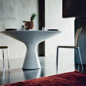 tavolo moderno / in Cristalplant® / tondo / bianco